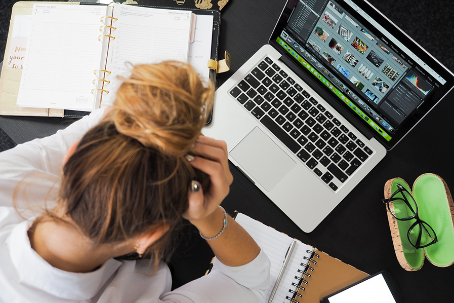 Woman tired at desk